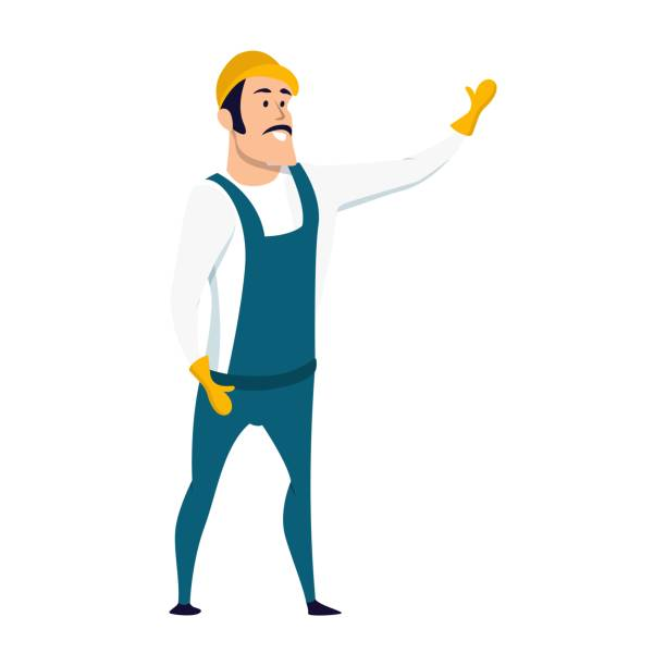 stockillustraties, clipart, cartoons en iconen met glimlachend mannelijke warehouse worker karakter permanent - warehouse worker
