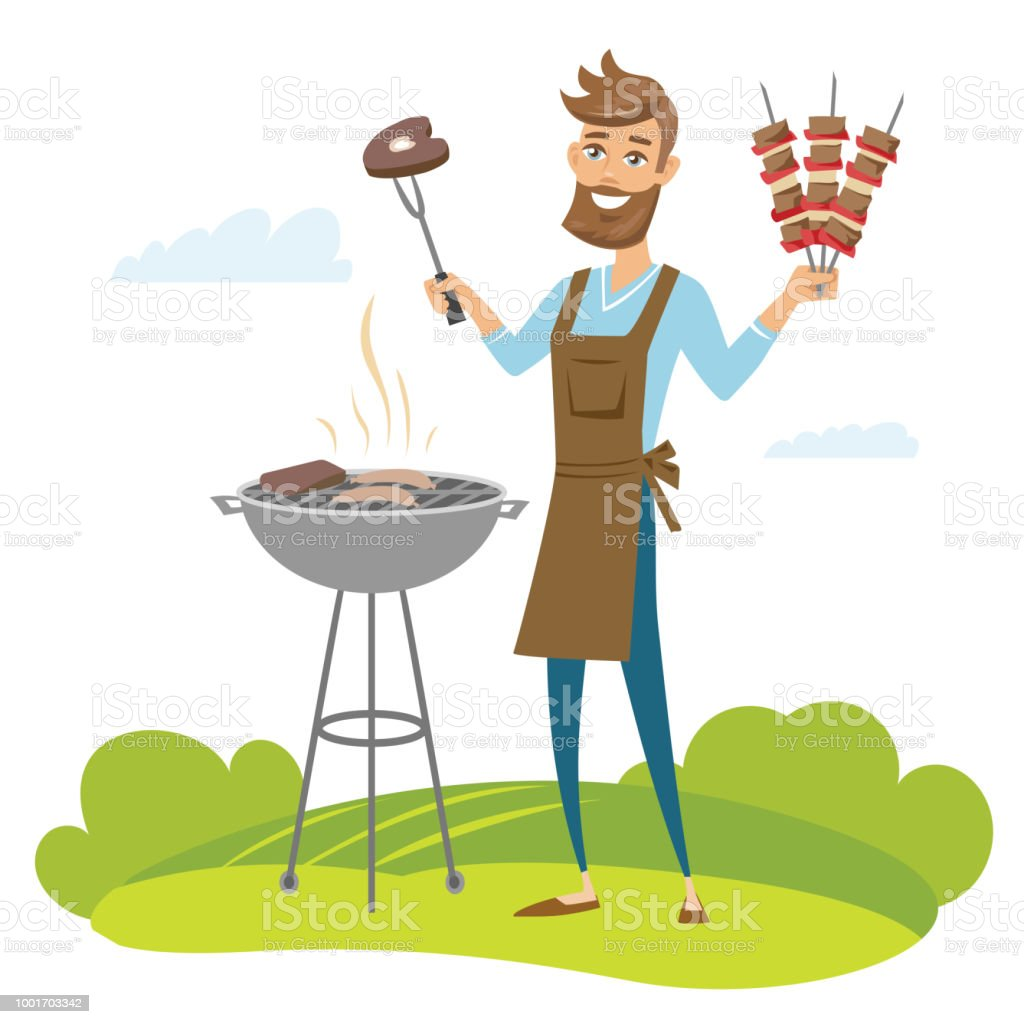 Smiling man grilling meat on barbecue grill and holding skewers. Vector illustration isolated. vector art illustration
