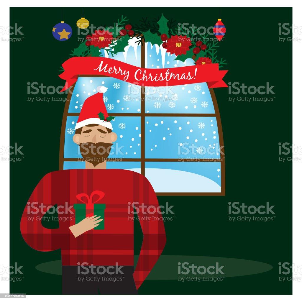 Lächelnder Mann In Rote Nikolausmütze Weihnachtsgeschenk In Der Hand ...