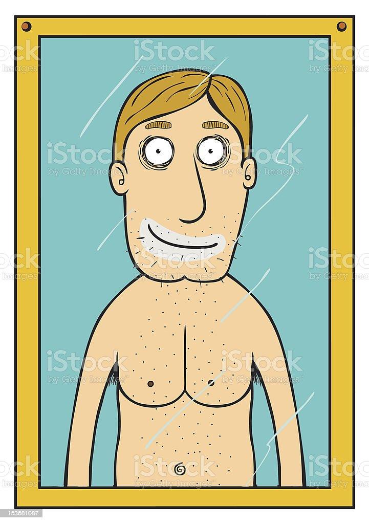 Smiling man on Mirror royalty-free stock vector art
