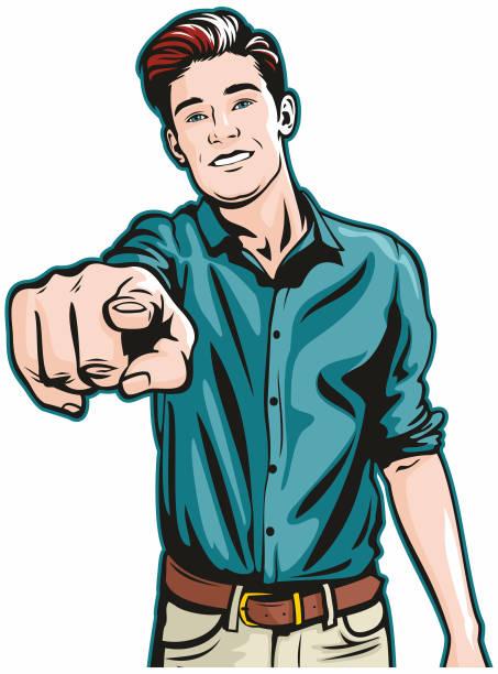 Smiling Man Pointing at You vector art illustration