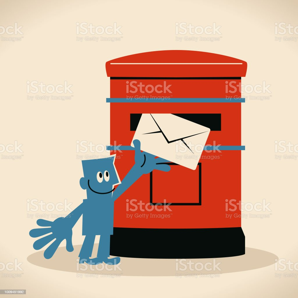 Smiling man putting an envelope into a public mailbox, sending mail or postcard vector art illustration