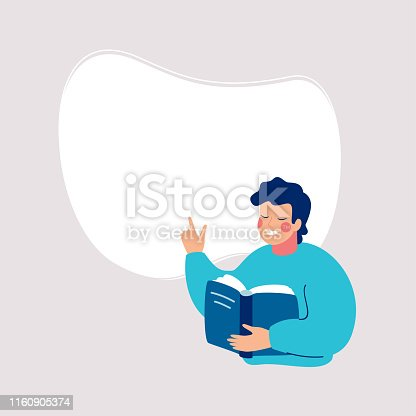 Smiling man reading a book and points to a white background for text. Speech bubble above. Human character vector illustration.