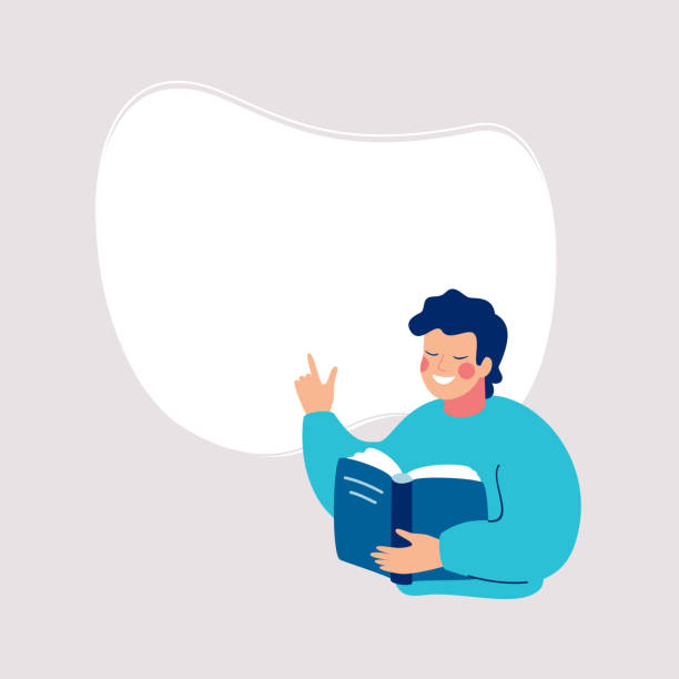 Smiling man reading a book and points to a white background for text. Smiling man reading a book and points to a white background for text. Speech bubble above. Human character vector illustration. children only stock illustrations
