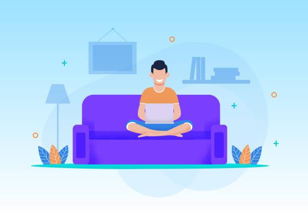 lächelnde menschen-entspannung mit laptop im home cartoon - wohnzimmer gemütlich stock-grafiken, -clipart, -cartoons und -symbole