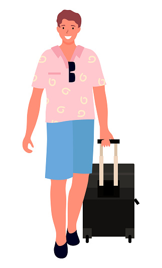 Smiling Man Tourist with Suitcase on Wheels Vector