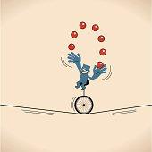 Smiling man (businessman), Unicycle juggling balls