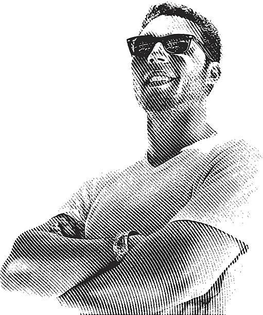 ilustrações, clipart, desenhos animados e ícones de homem sorridente - só um homem jovem