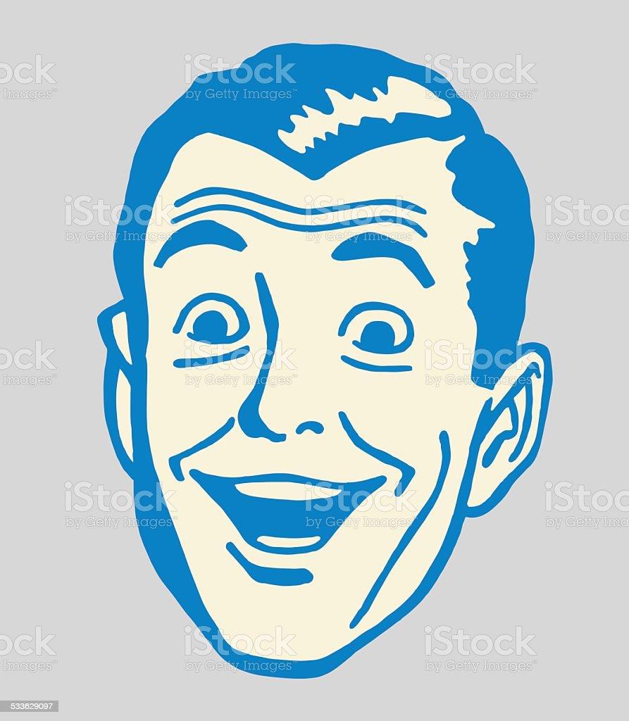 Smiling Man vector art illustration