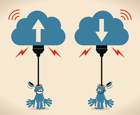 Smiling man who has an open head and a USB plug is uploading (downloading, backup) his mind to the cloud storage; Mind uploading concept