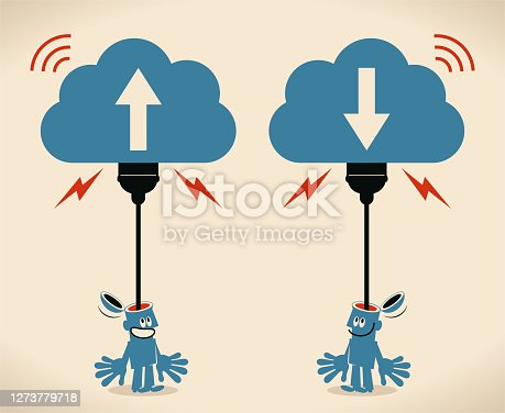 istock Smiling man who has an open head and a USB plug is uploading (downloading, backup) his mind to the cloud storage; Mind uploading concept 1273779718