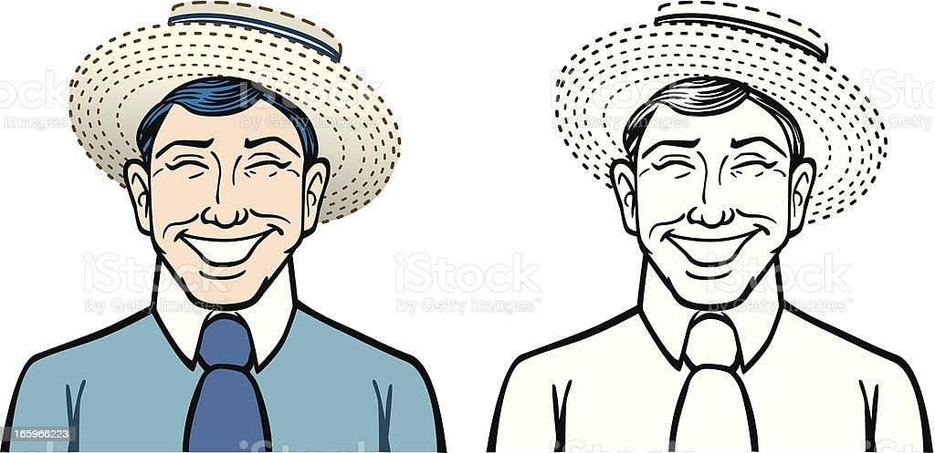 Smiling Man With Hat vector art illustration
