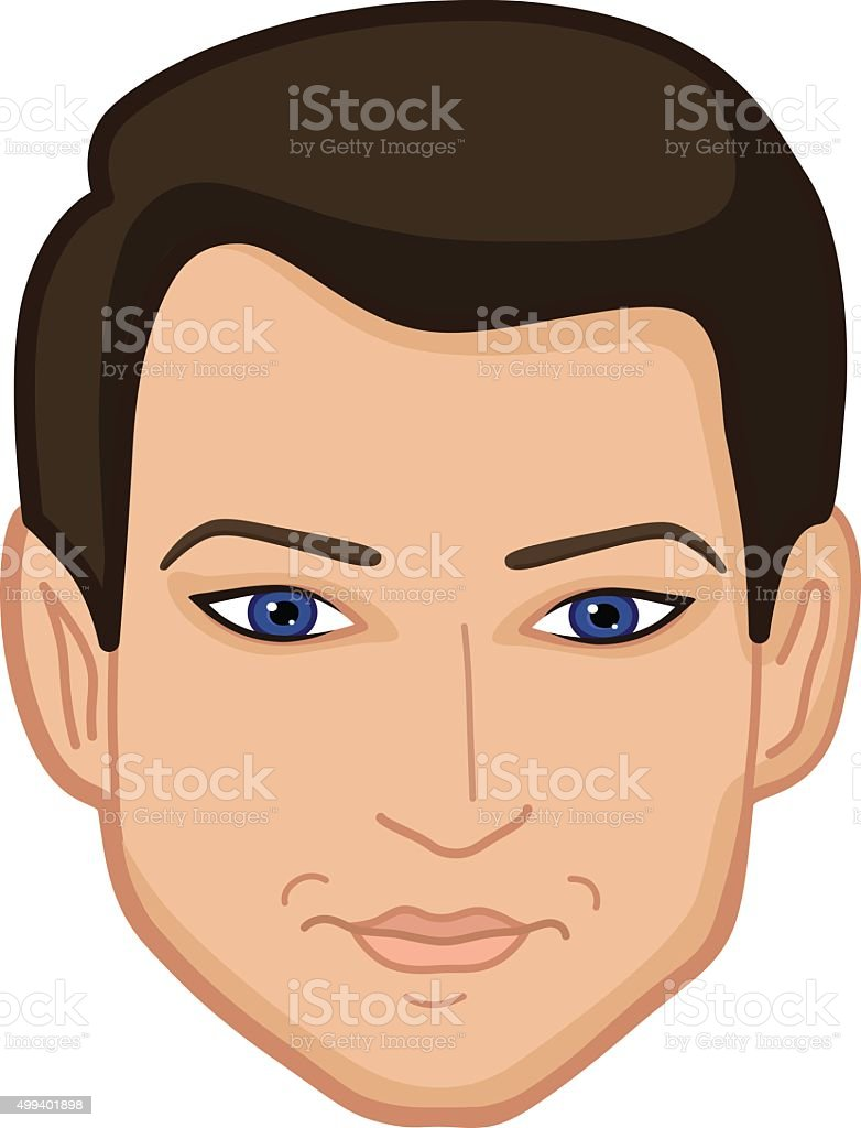 Smiling man's face vector art illustration