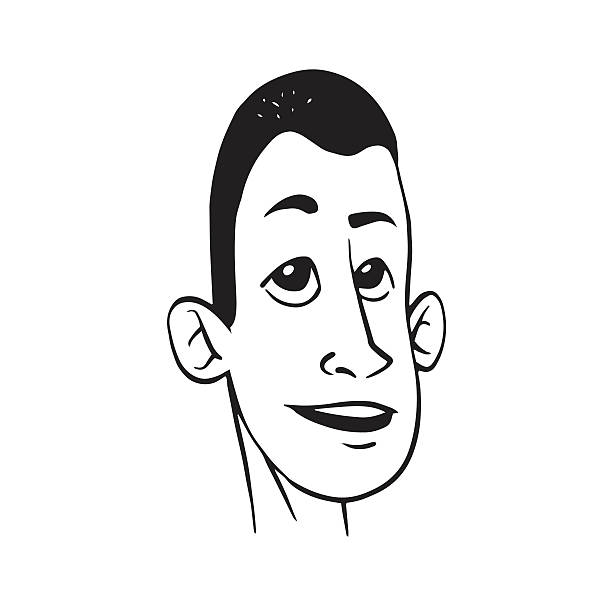 royalty free black and white male cartoon face profile clip art