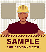 Unique Characters Vector art illustration. Smiling manual worker holding blank sign.