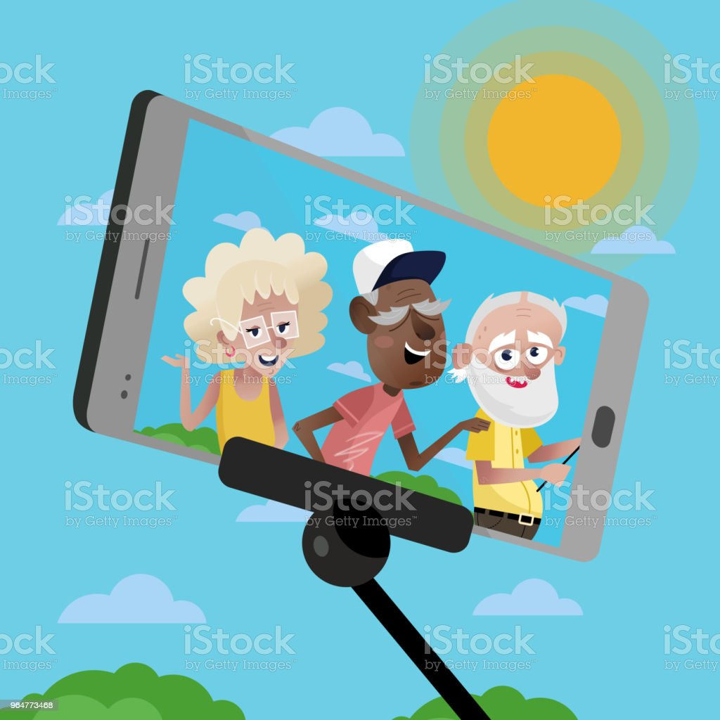 Smiling mature persons doing selfie. royalty-free smiling mature persons doing selfie stock vector art & more images of adult