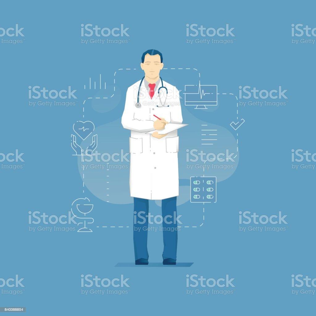 Sonriente hombre de medic con clopboard - ilustración de arte vectorial
