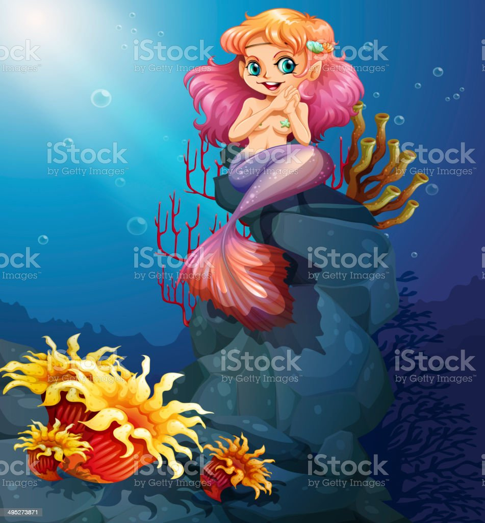 Smiling mermaid sitting above the rocks vector art illustration