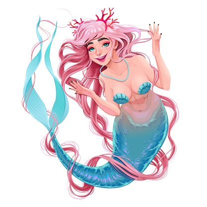 Smiling mermaid with long pink hair