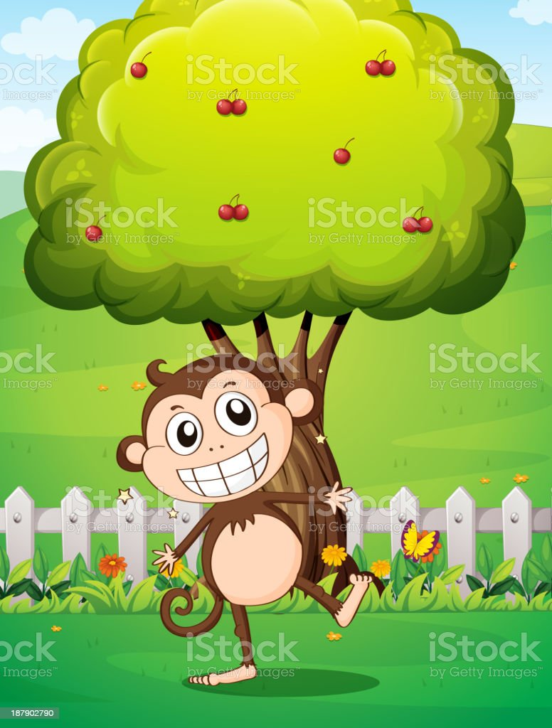 smiling monkey at yard in front of tree with cherries royalty-free smiling monkey at yard in front of tree with cherries stock vector art & more images of animal
