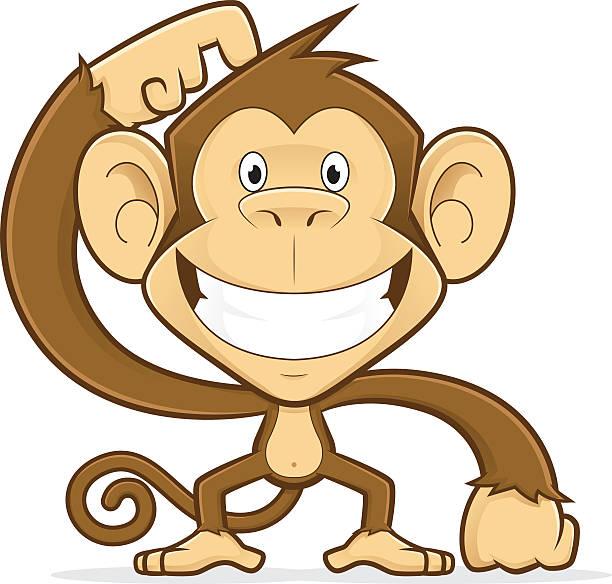 Smiling monkey scratching his head – Vektorgrafik