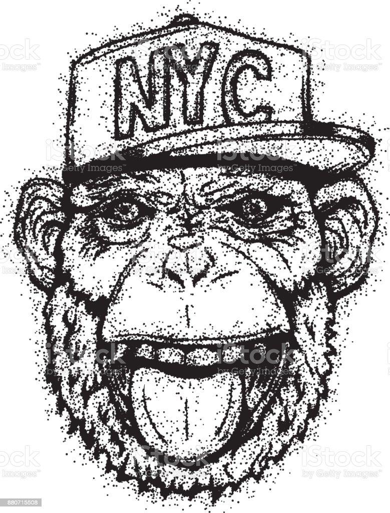 Ilustración de Sonriendo El Mono Con El Casquillo Para Camiseta U ...
