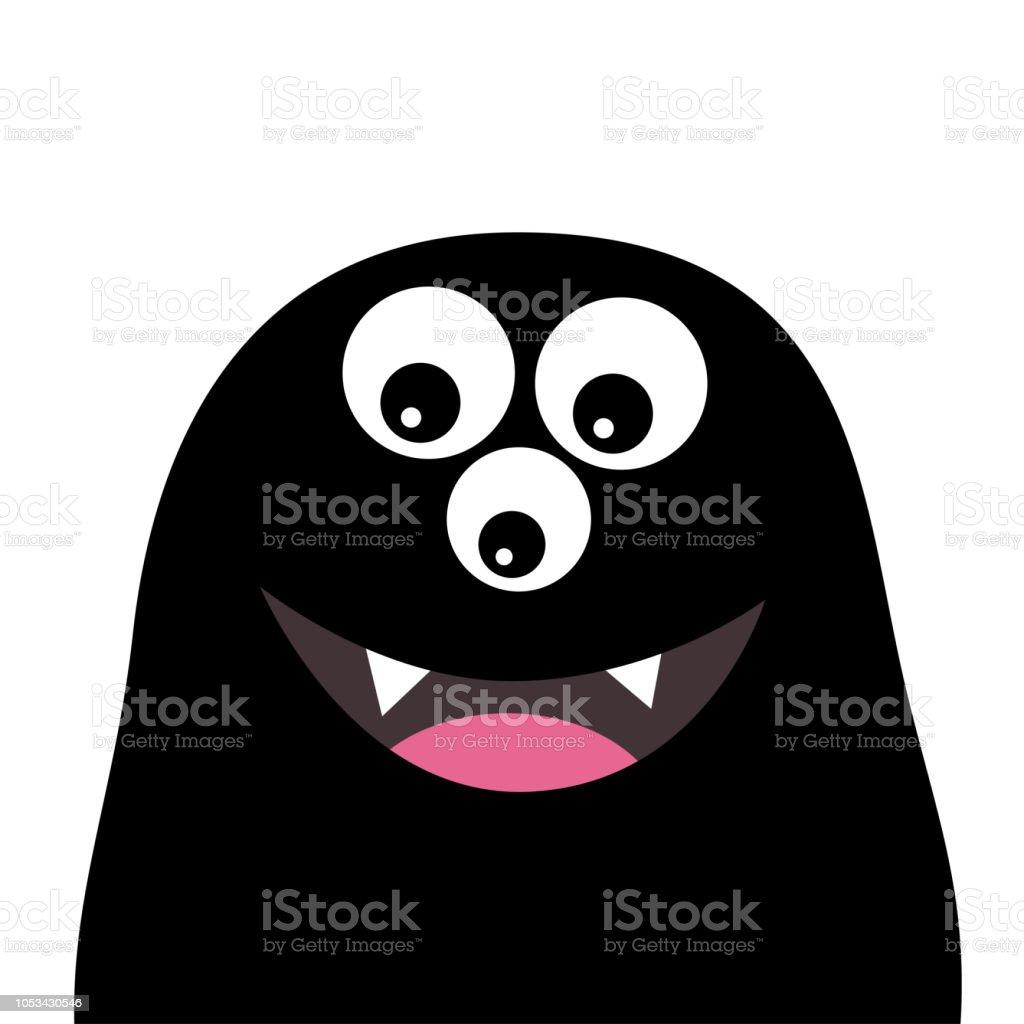 Lächelnde Monster Kopf Silhouette Thtee Augen Zähne Zunge Schwarz