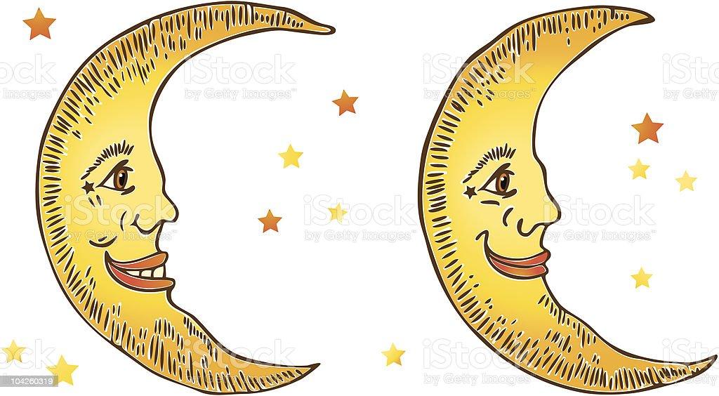 Smiling Moons vector art illustration