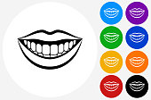 Smiling Mouth Icon on Flat Color Circle Buttons. This 100% royalty free vector illustration features the main icon pictured in black inside a white circle. The alternative color options in blue, green, yellow, red, purple, indigo, orange and black are on the right of the icon and are arranged in two vertical columns.