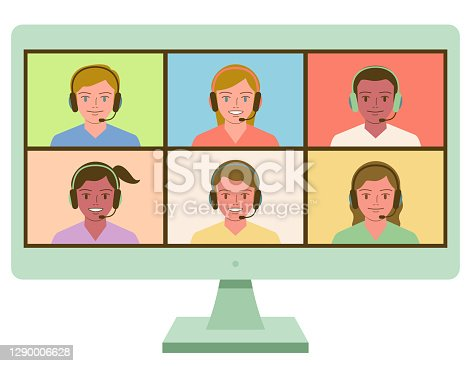 istock Smiling Multi-Ethnic children wearing headphones making video call; Language exchanging and online education and distance learning at home concept 1290006628