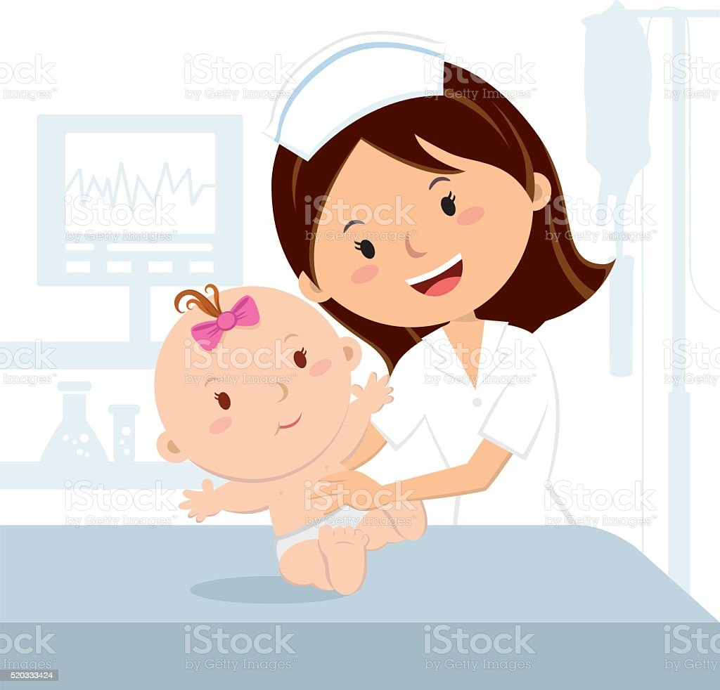 Smiling nurse and baby girl vector art illustration