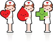 Cute Icon Set: Smiling Nurse Showing Love Heart, Blood Donation.