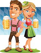 Smiling Oktoberfest Couple holding Beer with Bavarian Flag