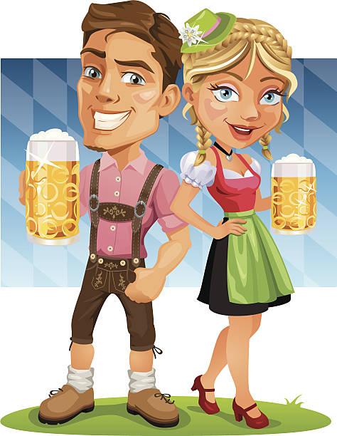 ilustraciones, imágenes clip art, dibujos animados e iconos de stock de sonriente pareja sosteniendo una cerveza oktoberfest con bandera de baviera - oktoberfest