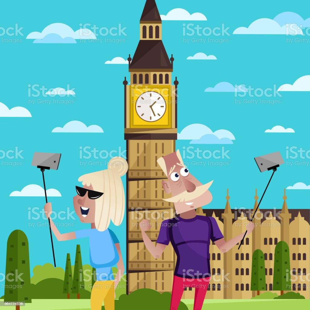 Smiling old couple doing selfie in London. royalty-free smiling old couple doing selfie in london stock vector art & more images of adult