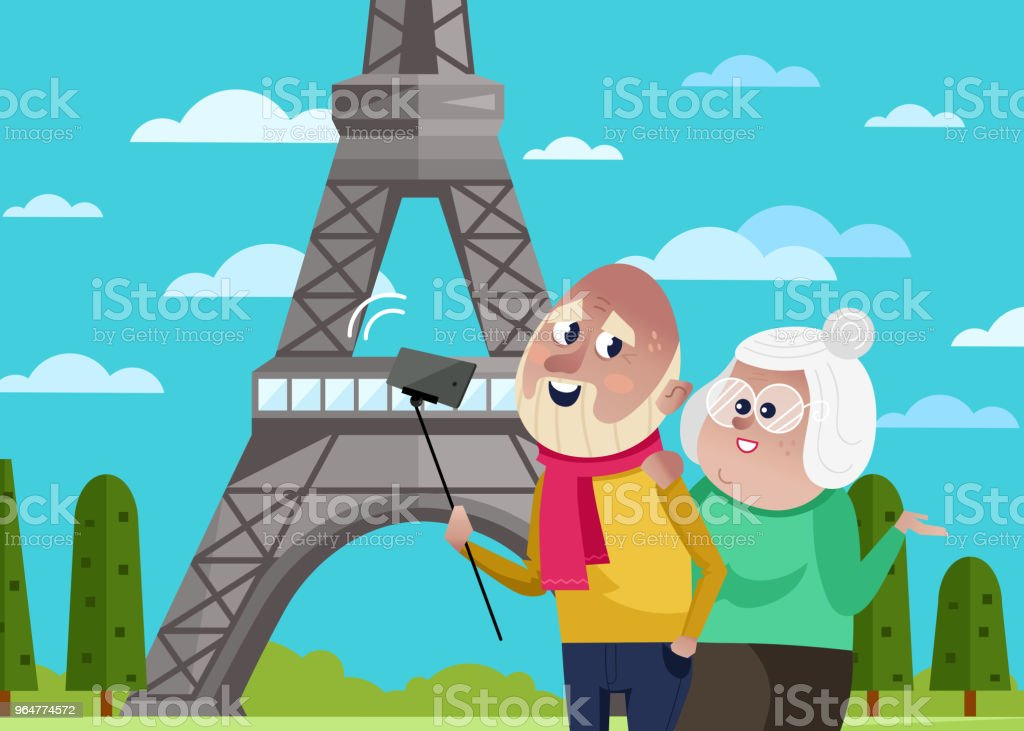 Smiling old couple doing selfie in Paris. royalty-free smiling old couple doing selfie in paris stock vector art & more images of adult