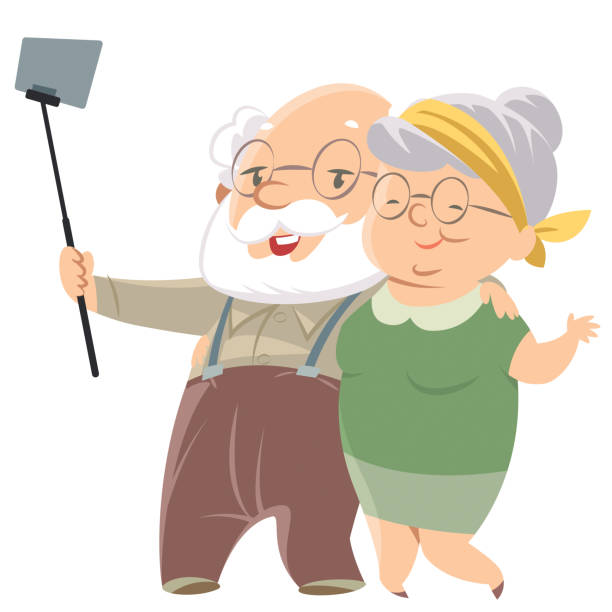 Smiling old couple doing selfie vector art illustration
