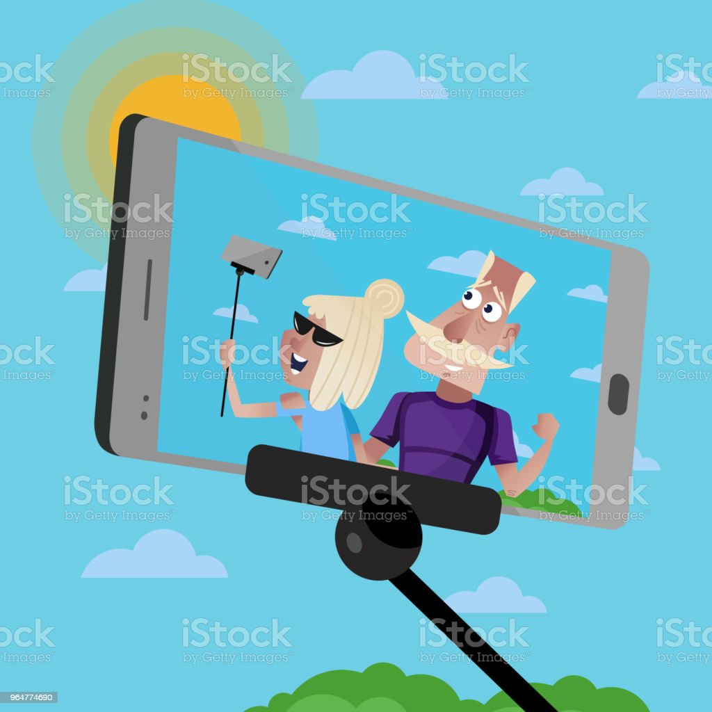 Smiling old couple doing selfie. royalty-free smiling old couple doing selfie stock vector art & more images of adult