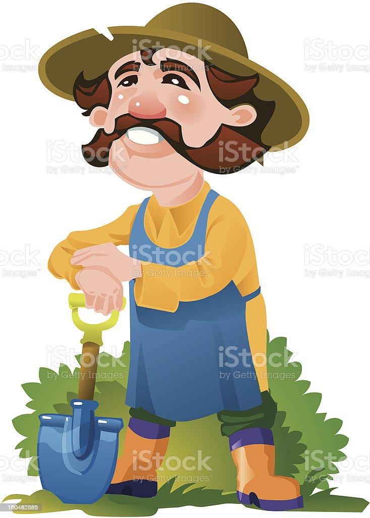 Smiling old gardener vector art illustration