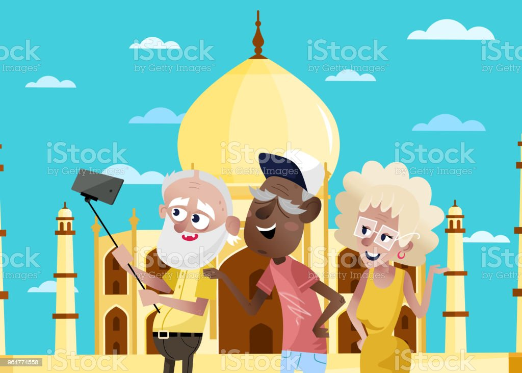 Smiling old people doing selfie in India. royalty-free smiling old people doing selfie in india stock vector art & more images of adult