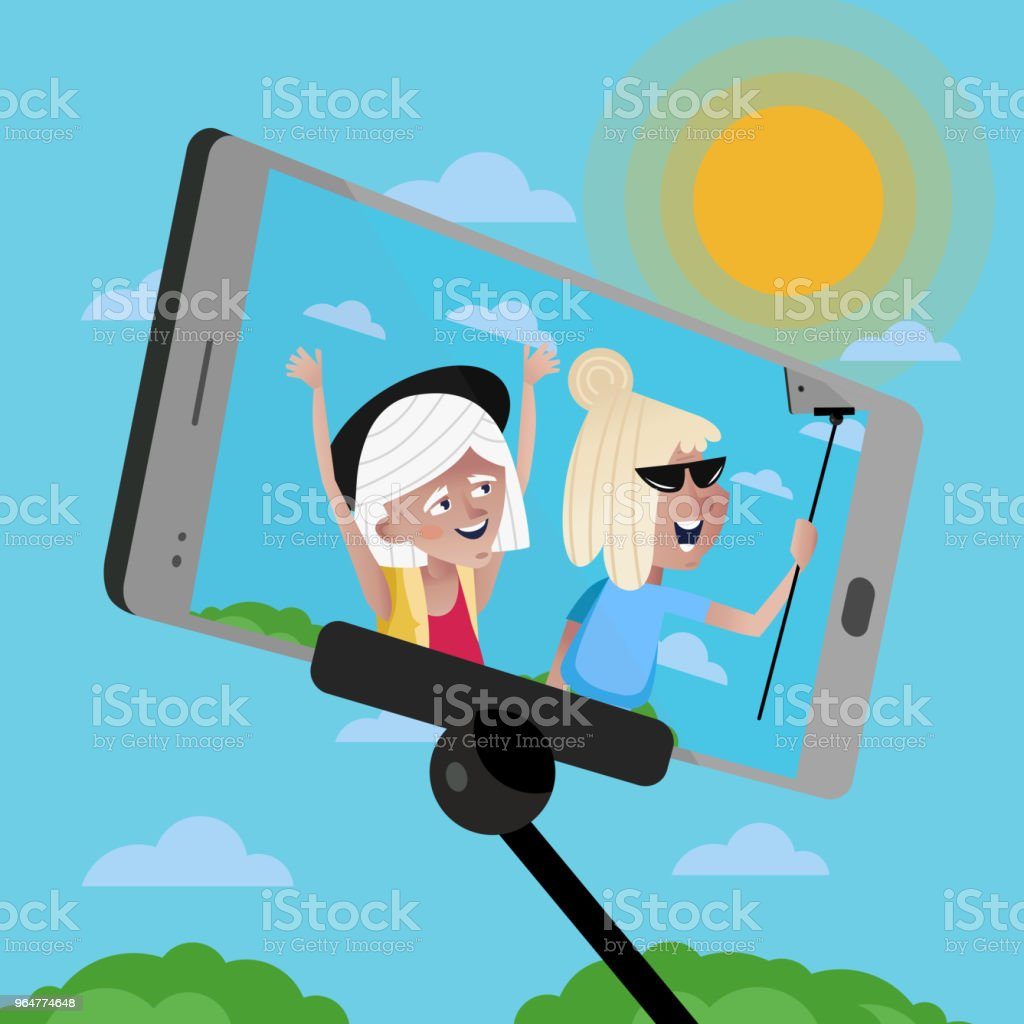 Smiling old women doing selfie. royalty-free smiling old women doing selfie stock vector art & more images of adult