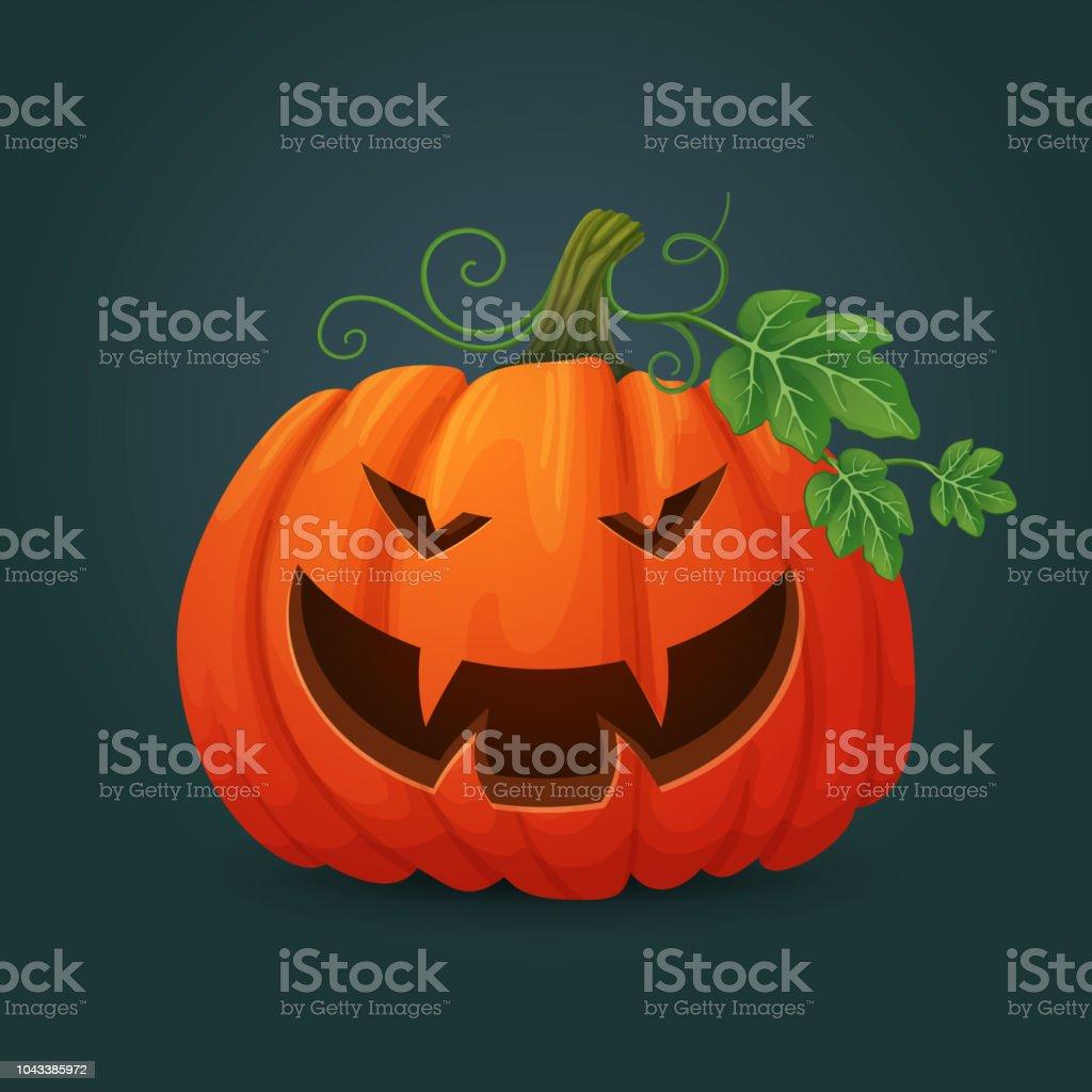 Smiling Orange Oval Halloween Pumpkin Showing Vampire Teeth