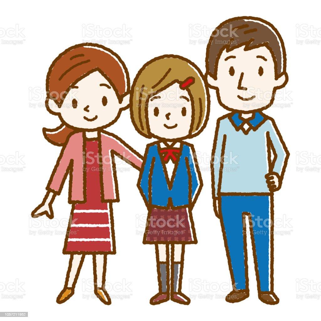 Sonriendo a los padres y su hija - ilustración de arte vectorial