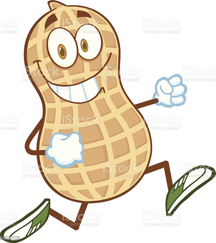 Smiling Peanut Cartoon Mascot Character Running vector art illustration