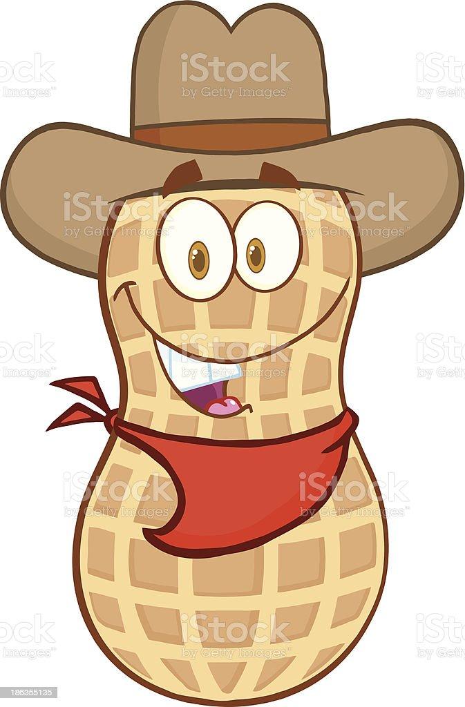 9e3ed219585 Smiling Peanut Cowboy Cartoon Mascot Character Stock Illustration ...