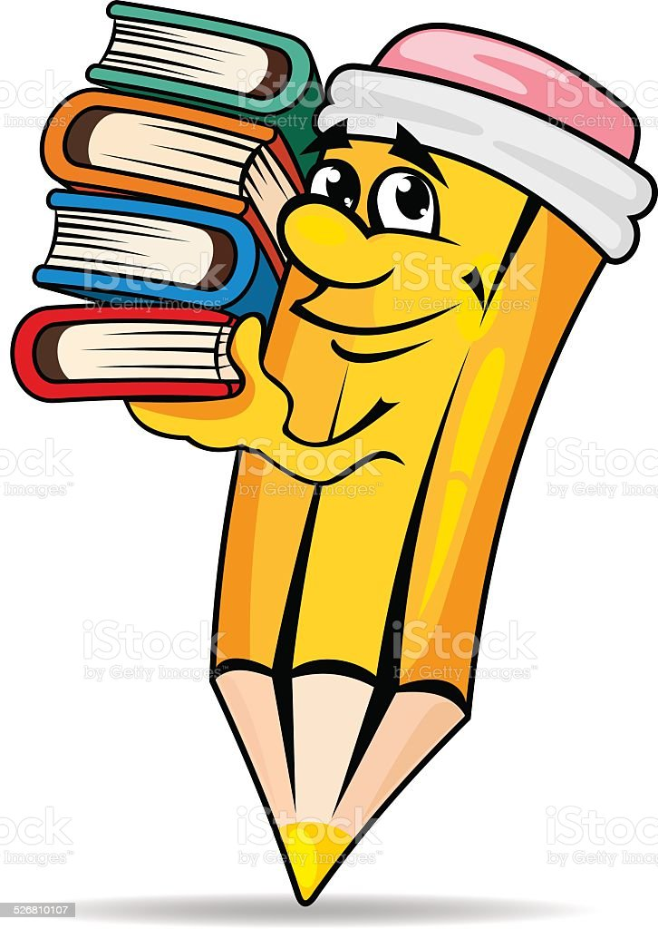 smiling pencil with books stock vector art more images of rh istockphoto com Silly Smiley Face Clip Art Winking Smiley Face Clip Art