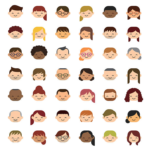 smiling people icons - old man hair stock illustrations, clip art, cartoons, & icons