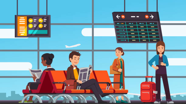 ilustrações, clipart, desenhos animados e ícones de pessoas sentados e em pé no corredor terminal com cadeiras, painéis de informação & janela grande aeroporto sorridentes. sala de espera de chegada ou partida lounge. vector isolado plana - esperar