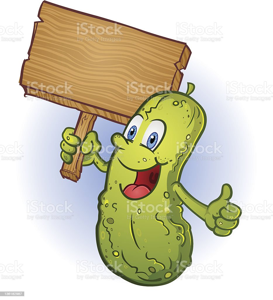 Smiling Pickle Holding A Sign royalty-free stock vector art