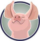 Vector cartoon illustration of a smiling pig head